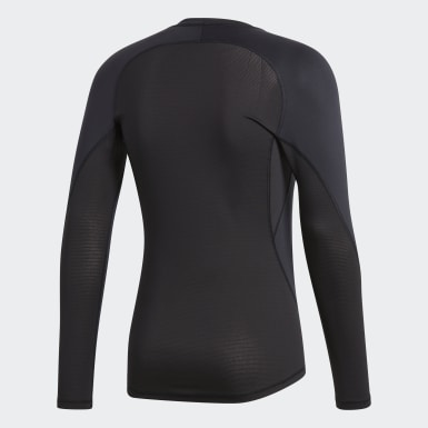Men Football Black Alphaskin Sport Long-Sleeve Top