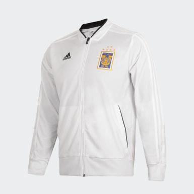 Chamarra Tigres UANL Polyester Blanco Hombre Fútbol