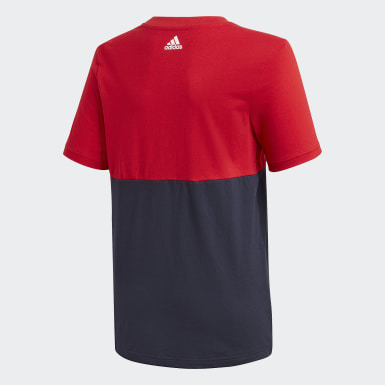 Boys Lifestyle Red Linear Colorblock Tee