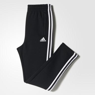 Jungen Athletics Essentials 3-Streifen Fleecehose Schwarz