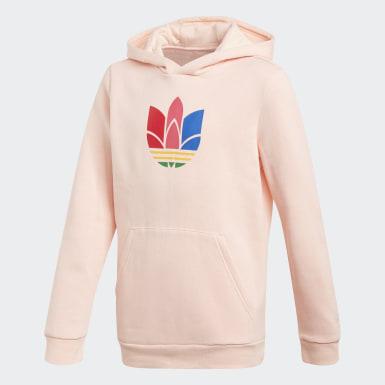 Camisola com Capuz Trefoil 3D Adicolor Rosa Raparigas Originals