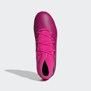 Calzado de Fútbol Nemeziz 19.3 Terreno Firme (UNISEX) Rosa Niño Fútbol