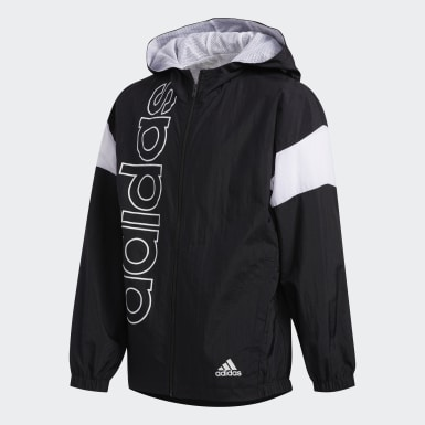 Youth Training Black Crinkle-Woven Hooded Jacket