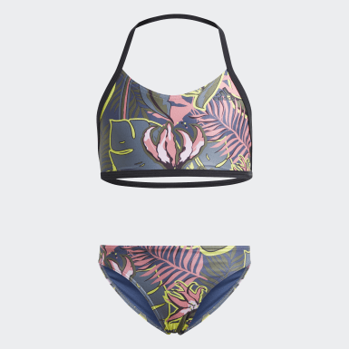 Bikini Flower Blu Ragazza Nuoto