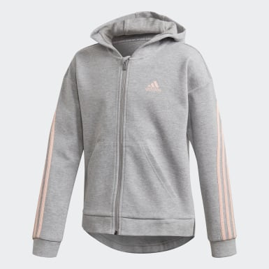 Girls Träning Grå 3-Stripes Full-Zip Hoodie