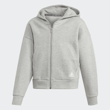 Girls Träning Grå Must Haves 3-Stripes Hoodie