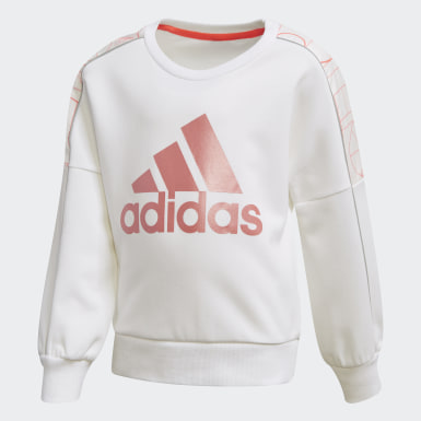 Girls Training White Lightweight Knit Crew Sweatshirt