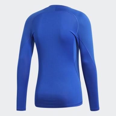Mænd Fodbold Blå Alphaskin Sport T-shirt