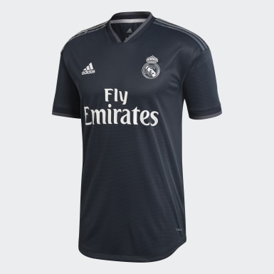 Men Football Black Real Madrid Away Authentic Jersey
