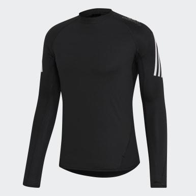 Men HIIT Black Alphaskin Sport+ 3-Stripes Long-Sleeve Top