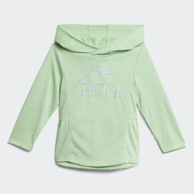 Infant & Toddler Training Green Mélange Hooded Top and Printed Tights Set