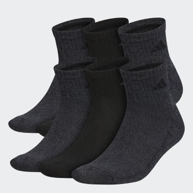 Men Training Black Athletic Quarter Socks 6 Pairs