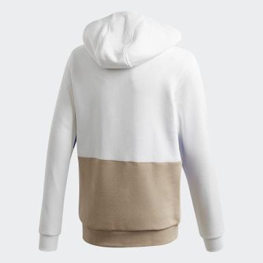 Hoodie Large Trefoil Bianco Bambini Originals