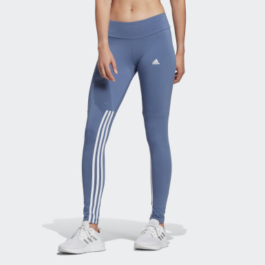 Women Sport Inspired Blue adidas Essentials Cut 3-Stripes Leggings