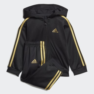 Kids Training Black Shiny Hooded Tracksuit