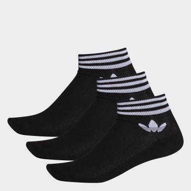 Originals Siyah Trefoil Bilek Boy Çorap - 3 Çift