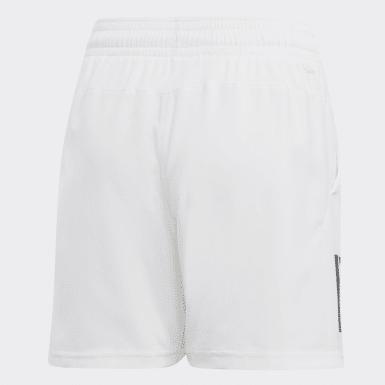 Jungen Padel-Tennis 3-Streifen Club Shorts Weiß