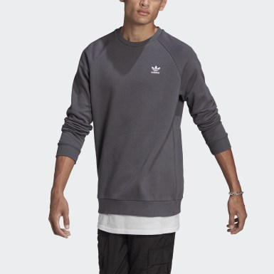 Men Originals Grey Trefoil Essentials Crewneck Sweatshirt