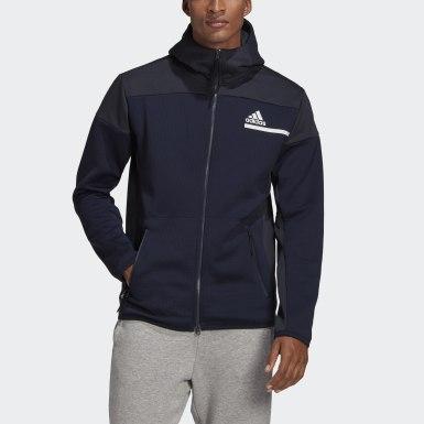 Heren Athletics blauw adidas Z.N.E. AEROREADY Sweatshirt met Rits