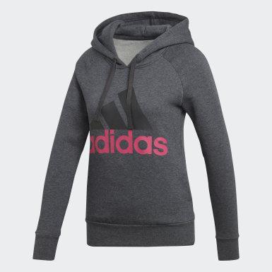 Sweat-shirt à capuche Essentials Linear Overhead Fleece Gris Femmes Training