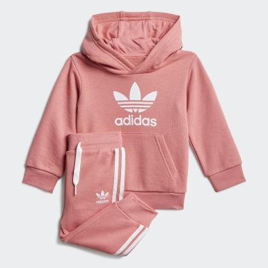 Conjunto sudadera con capucha y pantalón Trefoil Rosa Niño Originals
