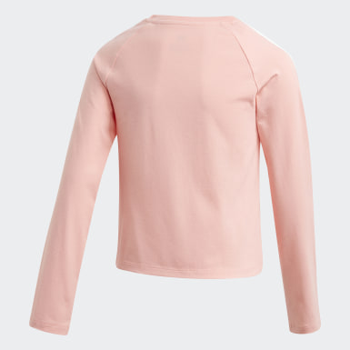Youth 8-16 Years Originals Pink 3-Stripes Cropped Long-Sleeve Top