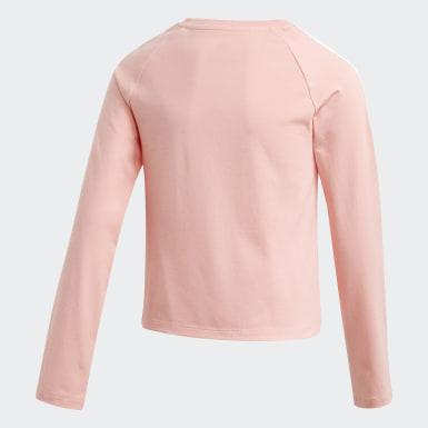 Girls Originals Pink 3-Stripes Cropped T-shirt