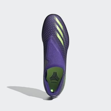 Fodbold Lilla X Ghosted.3 Laceless Turf støvler
