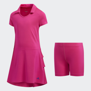 Girls Golf Pink Ruffled Dress