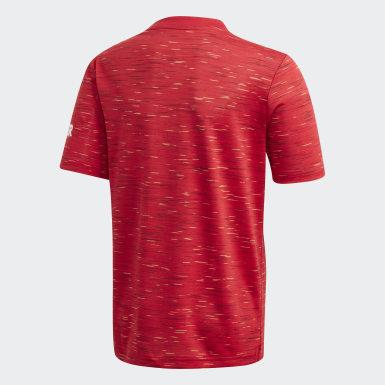 เด็กผู้ชาย ฟุตบอล สีแดง เสื้อฟุตบอลชุดเหย้า Manchester United 20/21