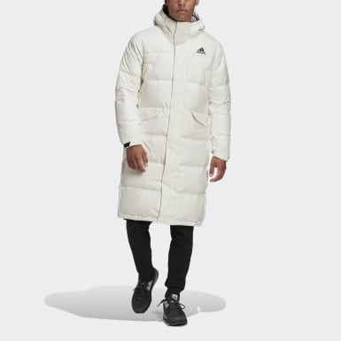 Men City Outdoor White 3-Stripes Long Down Parka