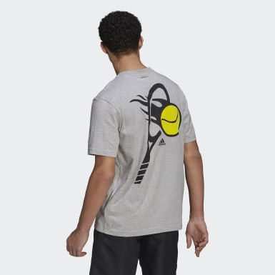 Men's Tennis Grey Tennis Graphic Basketball-Inspired Tee