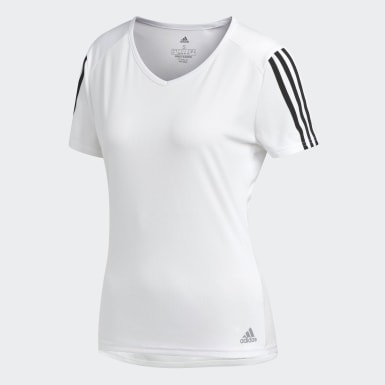 Dames Veld Hockey Wit Running 3-Stripes T-shirt