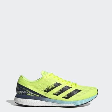 Men Running Yellow Adizero Boston 9 Shoes