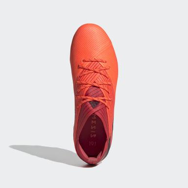 Bota de fútbol Nemeziz 19.1 césped natural seco Naranja Niño Fútbol