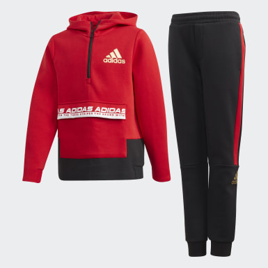 Boys Lifestyle Red Crew Set Track Suit