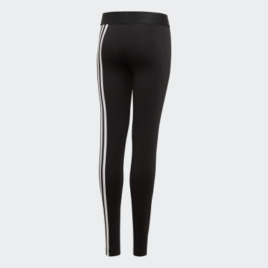 Girls Yoga Black Must Haves 3-Stripes Leggings
