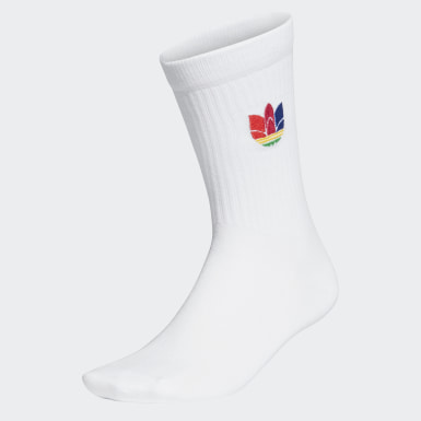 Originals White 3D Trefoil Cuff Crew Socks