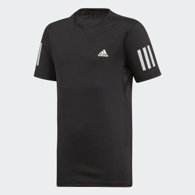 Jungen Padel-Tennis 3-Streifen Club T-Shirt Schwarz