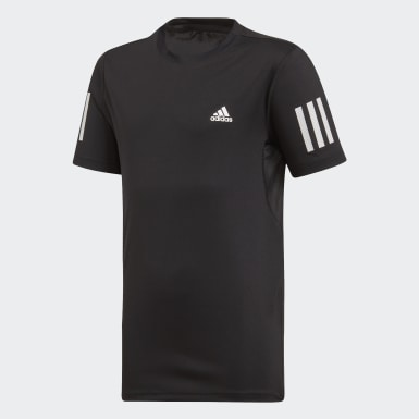 Jongens Padel Tennis zwart 3-Stripes Club T-shirt