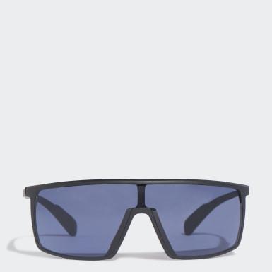 SP0004 Shiny Black Injected Sport Sunglasses Czerń