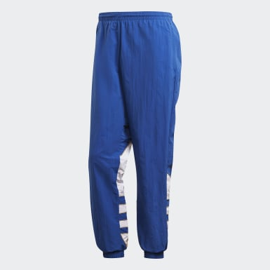 Men's Originals Blue Big Trefoil Colorblock Woven Track Pants