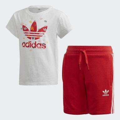 เด็ก Originals สีขาว ชุดเสื้อและกางเกงขาสั้น