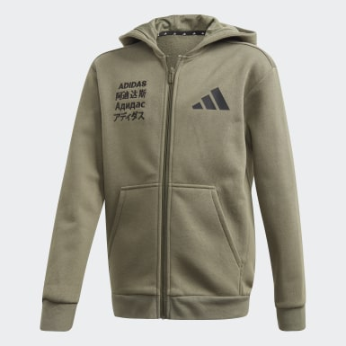 Veste à capuche adidas Athletics Pack Fleece Vert Garçons Athletics
