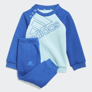 Kids Athletics Blue adidas Essentials Logo Sweatshirt and Pants (Gender Neutral)