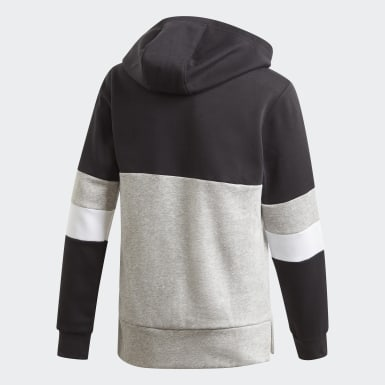 Youth Essentials Black Linear Colorblock Hooded Fleece Sweatshirt
