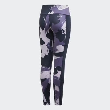 Youth 8-16 Years Yoga Purple Allover Print Leggings