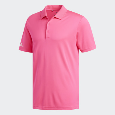 Men Golf Pink Performance Polo Shirt