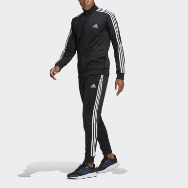 Men Sport Inspired Black Primegreen Essentials 3-Stripes Track Suit