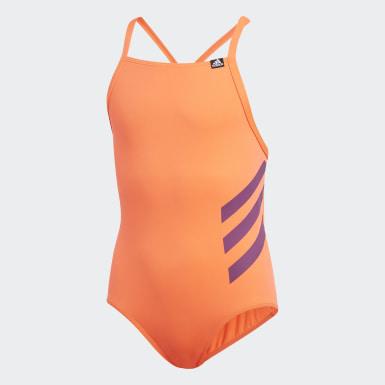 оранжевый Слитный купальник Pro Bold 3-Stripes
